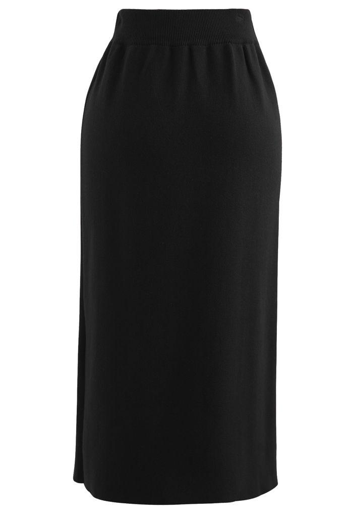 Golden Chain Waist Slit Pencil Knit Skirt in Black