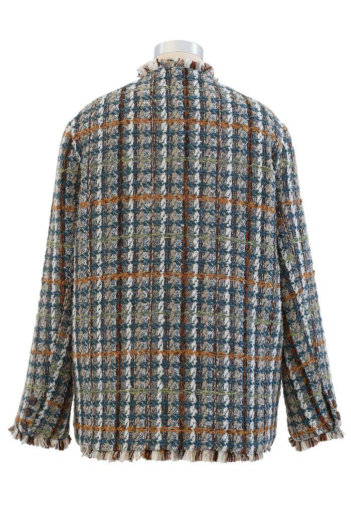 Faux Fur Lining Tassel Tweed Blazer in Green