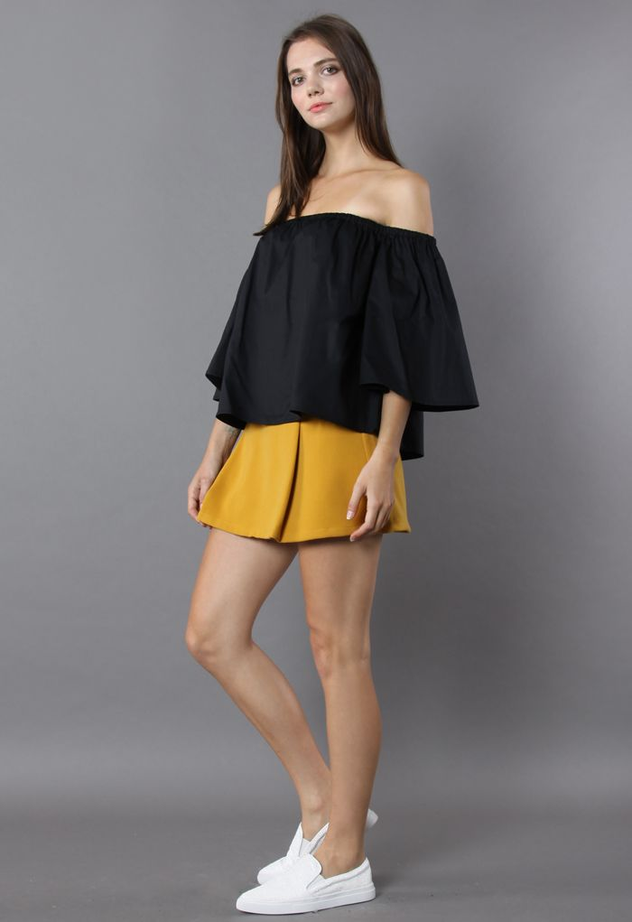 Delight Moment Off-shoulder Top in Black