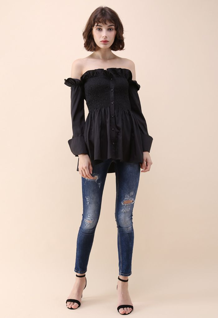 Stylish Sweetheart Ruffle Off-shoulder Top in Black