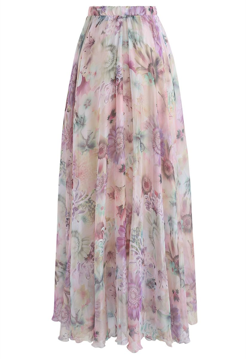 Sunflower Blossom Watercolor Chiffon Maxi Skirt in Pink