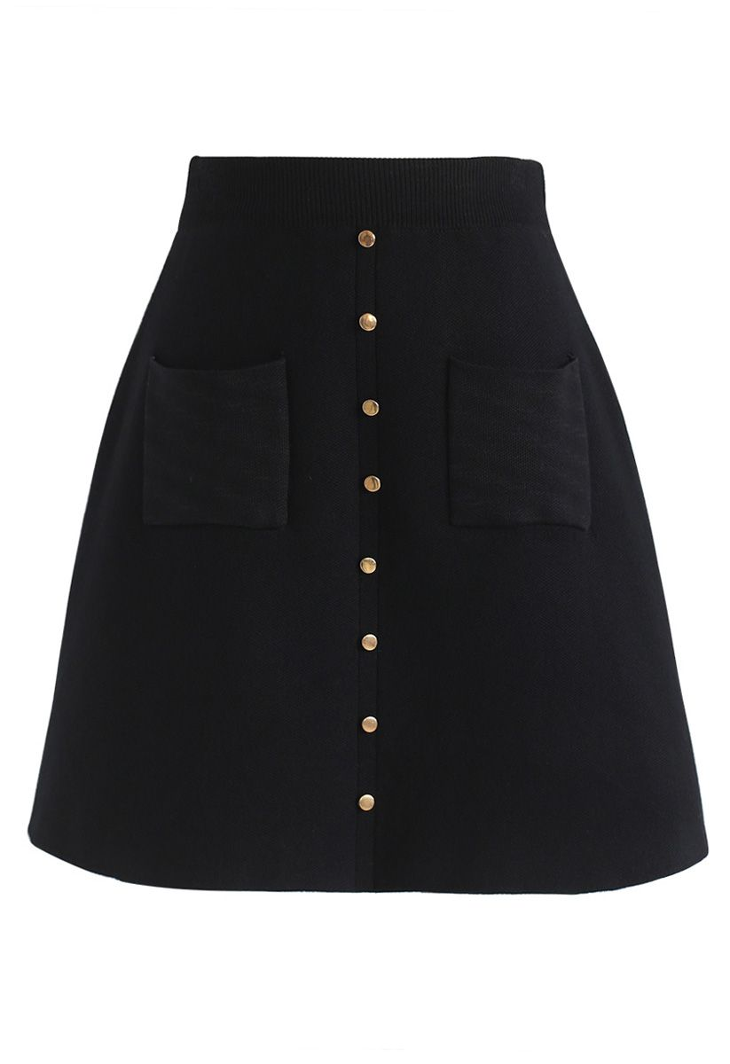 Charm in This Way Mini Knit Skirt in Black