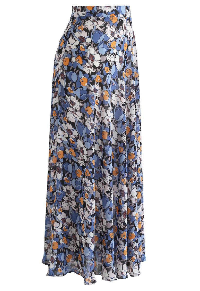 Flower Season Chiffon Maxi Skirt in Blue