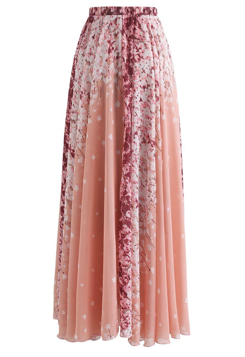 Cherry Blossom Watercolor Chiffon Maxi Skirt