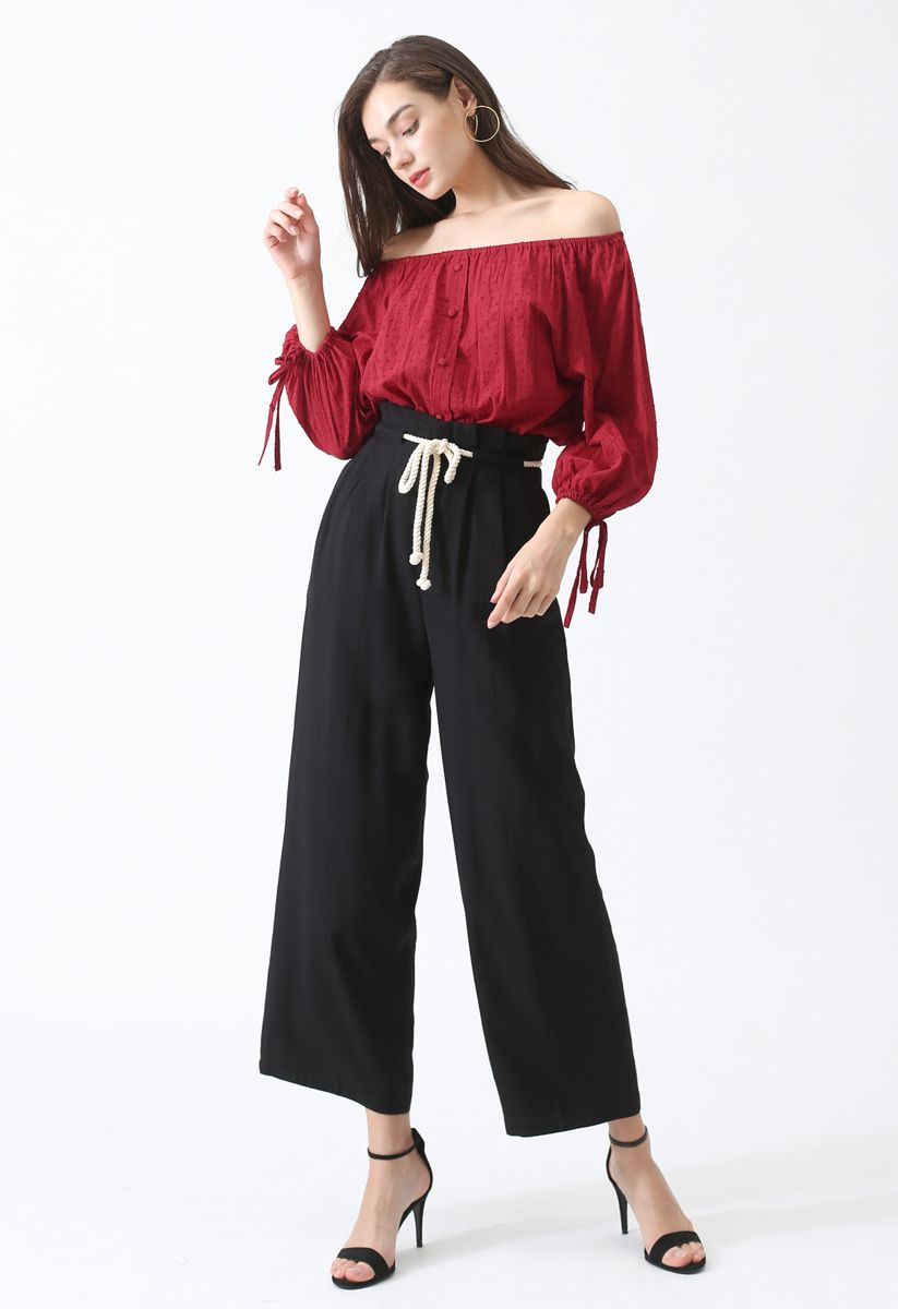 Summer Breeze Off-Shoulder Top in Red