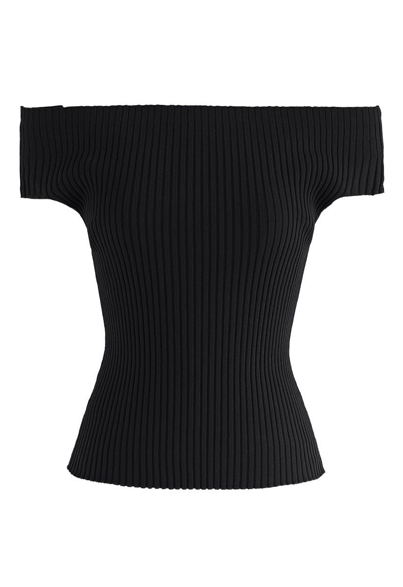 Count on You Off-Shoulder Ribbed Knit Top in Black