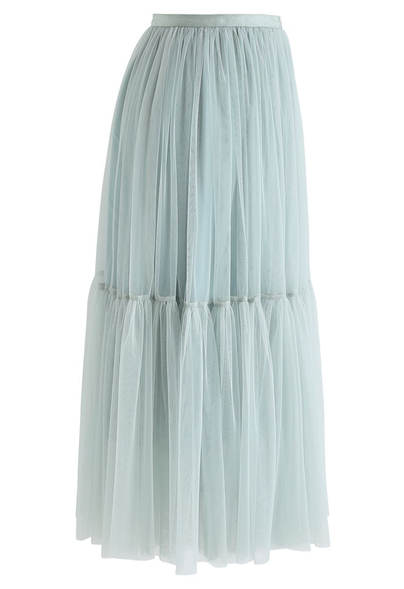 Can't Let Go Mesh Tulle Skirt in Mint
