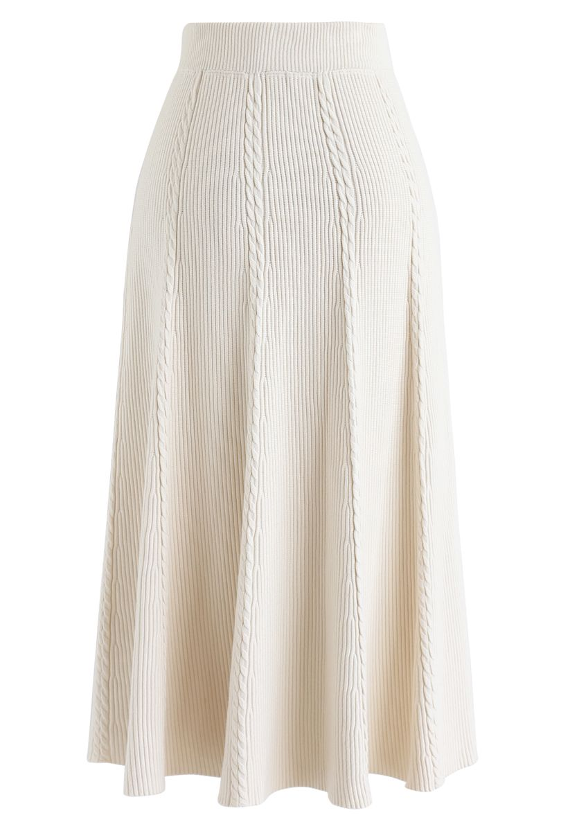 Braid Texture A-Line Knit Midi Skirt in Cream