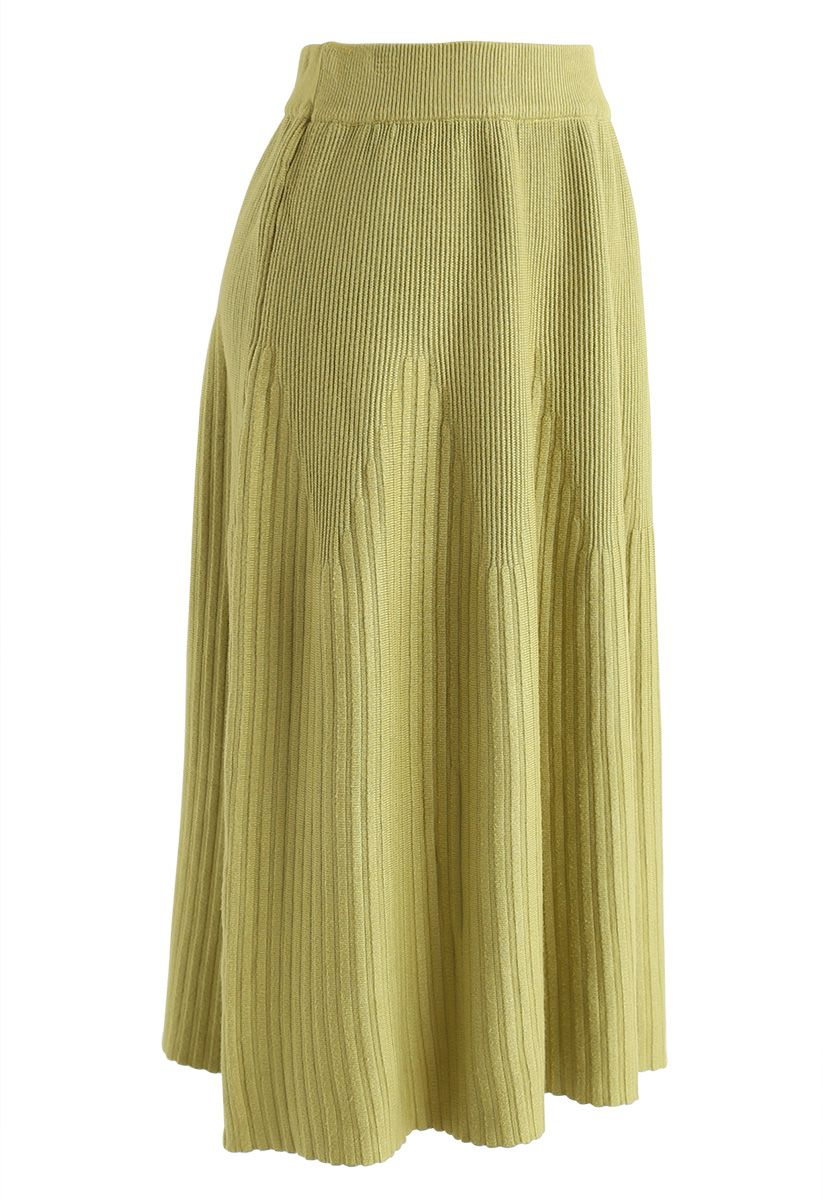 Radiant Lines Knit Midi Skirt in Moss Green