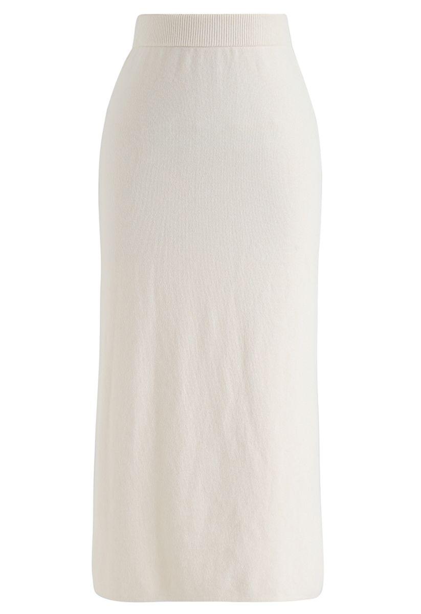 Basic Ribbed Knit Pencil Midi Skirt in Cream