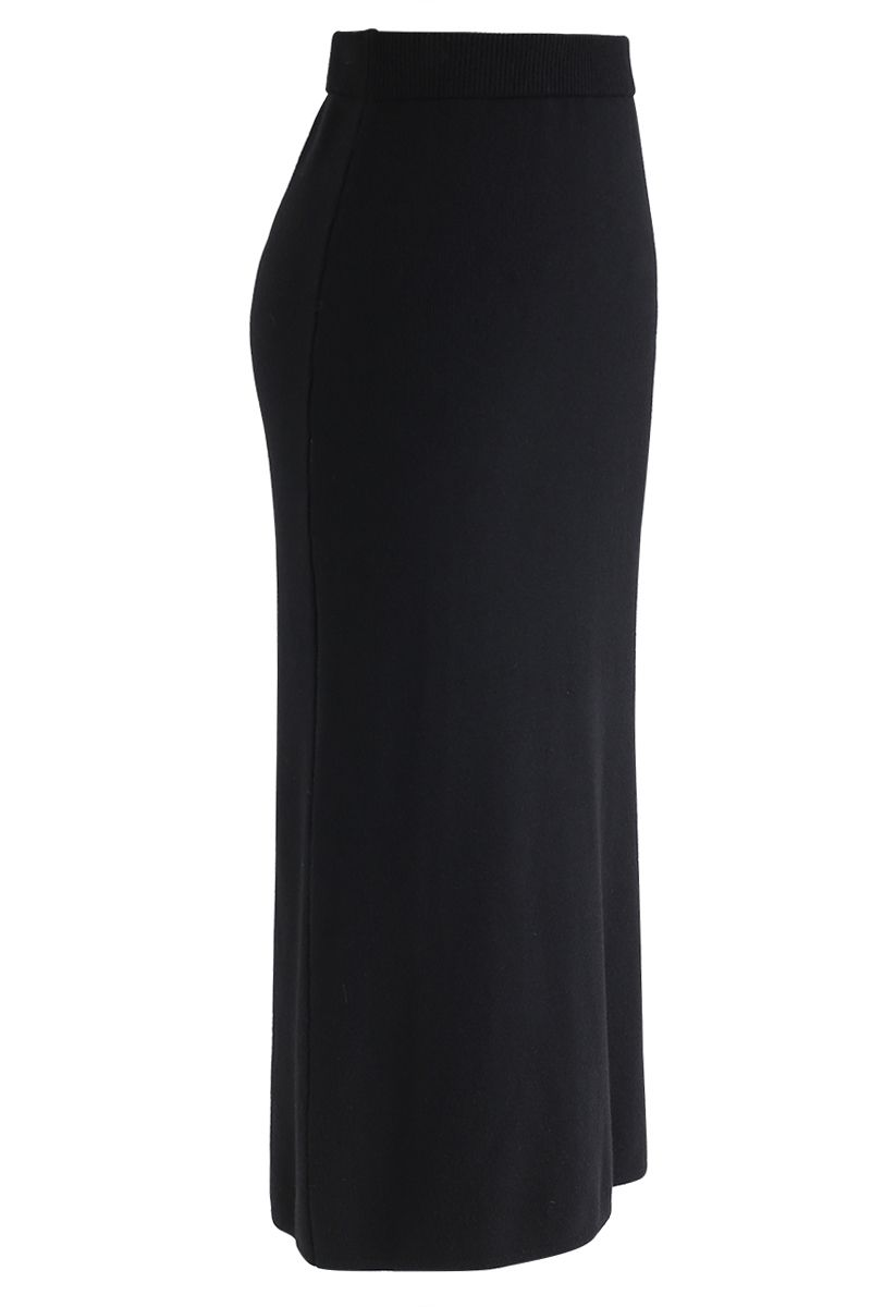 Basic Ribbed Knit Pencil Midi Skirt in Black