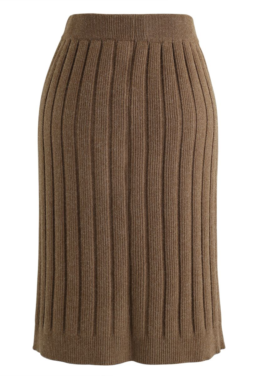 Button Ribbed Knit Pencil Skirt in Brown