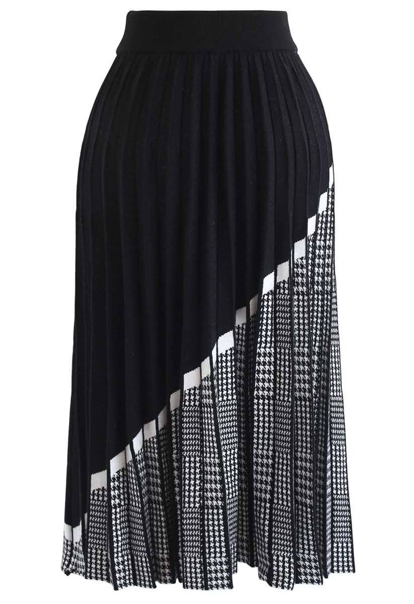 Houndstooth Hem Pleated Knit A-Line Midi Skirt