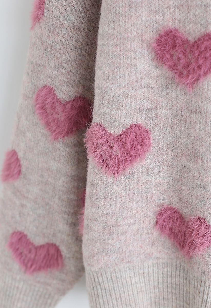 Contrast Color Fuzzy Hearts Knit Sweater