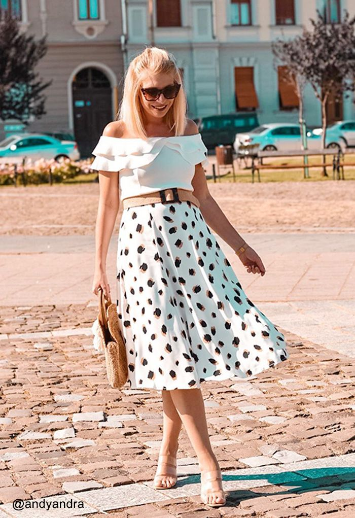 Off-Shoulder Tiered Cropped Knit Top in White