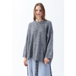 Hi Lo Hem Oversize Knit Sweater in Grey