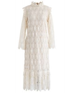 Full Crochet Sleeves Shift Dress in Cream