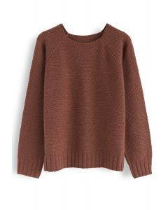 Waffle Knit Sweater in Brown