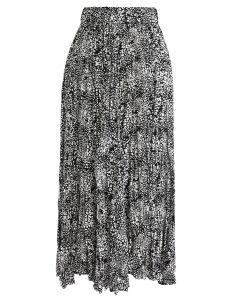 Leopard Print Pleated Midi Skirt in Black