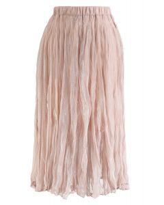 Semi-Sheer Shimmer Mesh Pleated Skirt in Dusty Pink