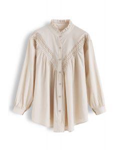 Ruffle Collar Button Down Sleeves Shirt in Cream
