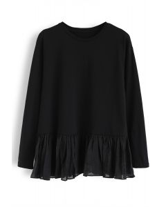 Mesh Frill Hem Spliced Sweatshirt in Black