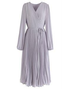 Lilac V-Neck Wrap Pleated Chiffon Dress