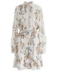 Posy Printed Eyelet Trims Chiffon Dress