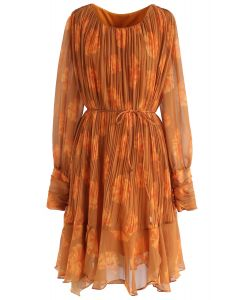 Floral Sheer Sleeves Pleated Chiffon Dress in Orange