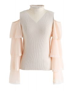 Cold-Shoulder Spliced Ribbed Knit Top in Cream