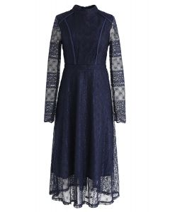 Mock Neck Full Lace Midi Dress in Navy