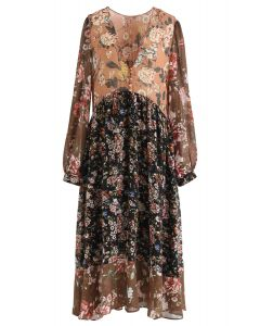 Scattered Floral Buttoned Chiffon Dress