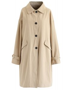 Pointed Collar Button Down Coat in Light Tan