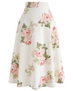 Rose Print A-Line Flare Midi Skirt in Cream