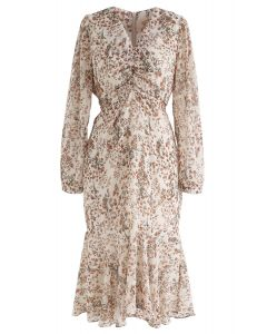 All-Over Posy Printed Chiffon Dress in Cream