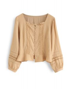 Square Neck Ruffle Buttoned Crop Top in Mustard