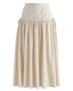 High-Waisted A-Line Midi Skirt in Sand