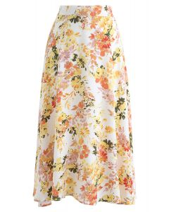 Blooming Season Watercolor Chiffon A-Line Midi Skirt in Orange