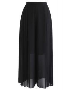 Pleated Wide-Leg Chiffon Pants in Black