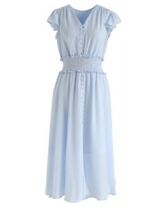 Shirred Button Down Ruffle Dress in Sky Blue