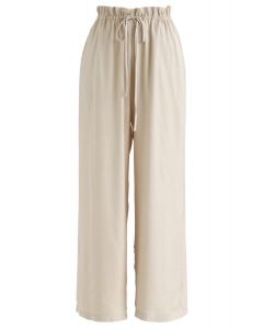 Simplistic Drawstring Wide-Leg Pants in Sand