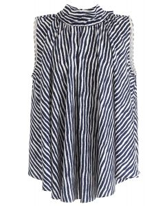 Navy Stripes Bow-Neck Sleeveless Top