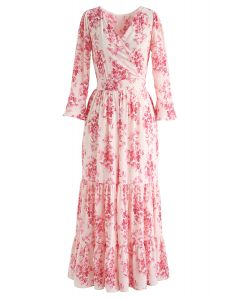 Flounced Cuffs Floral Print Chiffon Wrap Dress
