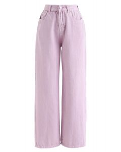 Wide-Leg Cropped Jeans in Taffy Pink