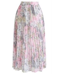 Delightful Floral Pleated Chiffon Skirt in Pink