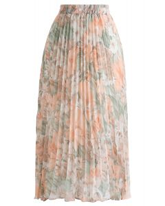 Delightful Floral Pleated Chiffon Skirt in Coral