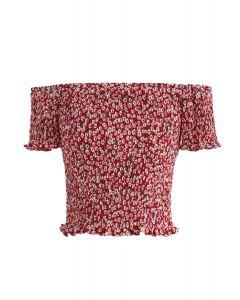Floret Shirred Off-Shoulder Cropped Top in Red