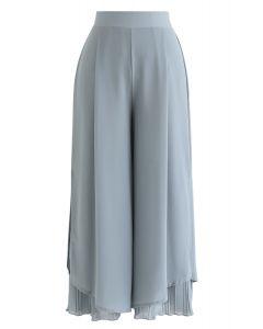 Split Pleated Hem Crop Chiffon Pants in Dusty Blue