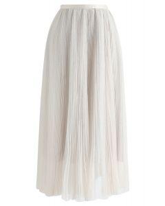 Glittering Mesh Pleated Midi Skirt in Cream