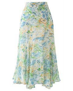 Abstract Rose Print Frilling Chiffon Midi Skirt in Green